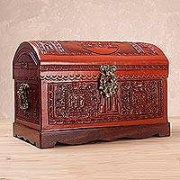 Cedar and leather chest, 'Tumi Ceremony' - Handcrafted Cedar and Leather Decorative Box with Bronze