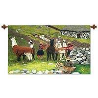 Wool tapestry, 'Highland Llamas' - Llama Pasture Peru Woven Wool Folk Art Tapestry (3x2)