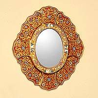 Mirror, 'Floral Crimson' - Handcrafted Reverse Painted Mirror