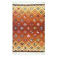 Wool rug, 'Sunny Earth' (4x5) - Geometric Wool Area Rug (4x5)