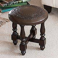 Cedar and leather accent stool, 'Colonial Guard' - Fair Trade Cedar Wood Leather Brown Stool