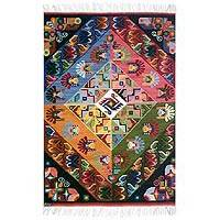 Wool rug, 'Scenes of My Village' (4x5) - Artisan Crafted Wool Multicolor Bird Area Rug
