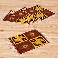 Wool placemats, 'Pukio' (set of 4)