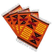 Wool placemats, 'Sumac Beauty' (set of 4) - Hand Made Wool Placemats (Set of 4)