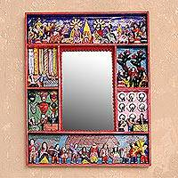Retablo wall mirror, 'Chapel of Bethlehem' - Fair Trade Folk Art Retablo Mirror