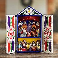 Retablo, 'Chapel of Santa Ana' - Folk Art Retablo Peruvian Nativity Scene