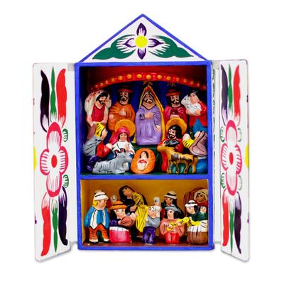 Folk Art Retablo Peruvian Nativity Scene
