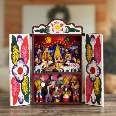 Retablo, 'Chapel of Quinua' - Collectible Peruvian Wood Multicolor Retablo Sculpture