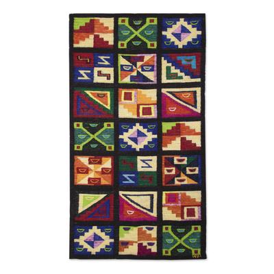 Wool tapestry, 'Calendar' - Wool tapestry