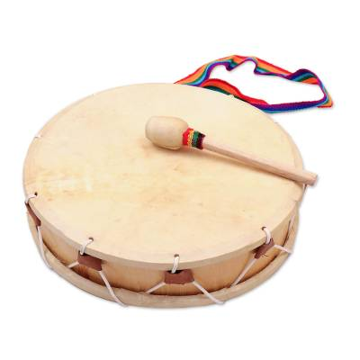 Wood drum, 'Tinya' - Artisan Crafted Wood Drum