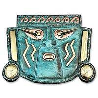 Copper mask, 'Warrior God in Tears' - Artisan Crafted Copper and Bronze Wall Mask