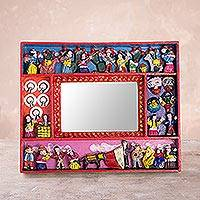 Photo frame, 'Tuna Harvest' (4x6) - Collectible Folk Art Wood Retablo Photo Frame (4x6)