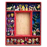 Retablo photo frame, 'Little Carnival' (3.5x5) - Unique Andean Ceramic and Wood Folk Art Photo Frame (4x6)