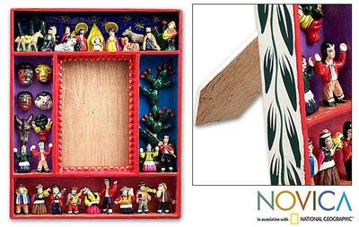 Retablo photo frame, 'Little Carnival' (3.5x5) - Folk Art Wood Photo Frame (3.5x5)