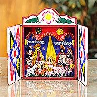 Retablo, 'Celebrating the Birth' - Peruvian Folk Art Wood Retablo