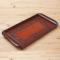Cedar and leather tray, 'Inca' - Cedar and leather tray