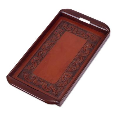 Cedar and leather tray, 'Inca' - Cedar and leather tray