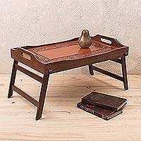 Cedar and leather tray, 'Inca Romance' - Leather and Cedar Folding Tray Handmade in Peru