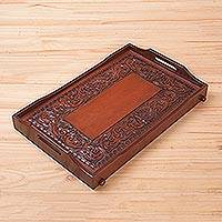 Cedar and leather tray, 'Breakfast in Bed' - Hand Tooled Leather Cedar Tray Serveware from Peru