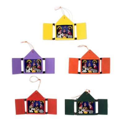 Ornaments, 'Retablos' (set of 5) - Christmas Ornaments Nativity Scene Set of 5 Handmade in Peru