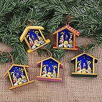 Ornaments, 'Huts' (set of 5)
