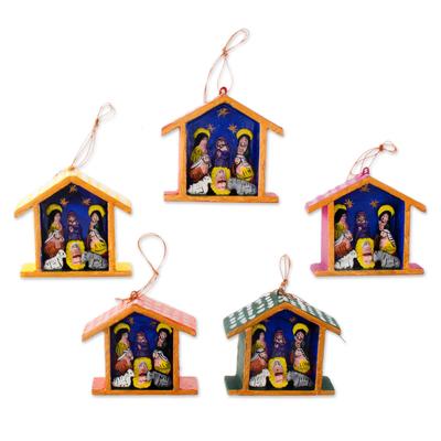 Ornaments, 'Huts' (set of 5) - Ornaments (Set of 5)