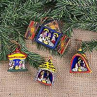 Ornaments, 'Nativity' (set of 4) - Hand Made Religious Wood Christmas Ornaments (Set of 4)
