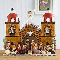 Ceramic nativity scene, 'Central Church' - Intricate Ceramic Church Nativity Scene Sculpture