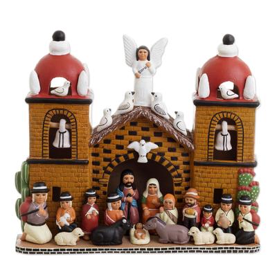 Intricate Ceramic Church Nativity Scene Sculpture