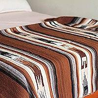 100% alpaca throw, 'Inca Graphics' - Handwoven 100 Percent Alpaca Striped Brown Throw