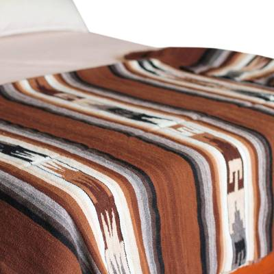 100% alpaca throw, 'Inca Graphics' - Alpaca Wool Blend Striped Blanket