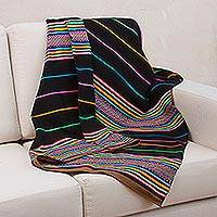 Woven throw blanket, 'Horizons' - Handmade Striped Blanket and Throw