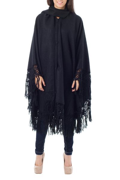 Alpaca blend poncho, 'Black Floral Elegance' - Alpaca Wool Poncho