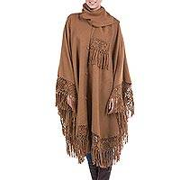 Alpaca blend poncho, 'Warm Earth' - Alpaca Wool Poncho