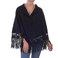 Alpaca blend poncho, 'Night Out' - Peruvian Alpaca Wool Blend Poncho