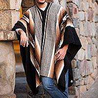 Men's 100% alpaca poncho, 'Hualhuas Night' - Unique Peruvian Alpaca Wool Men's Poncho