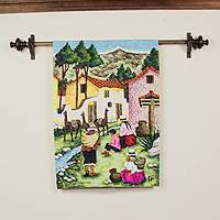 Wool tapestry, 'Family from Junin' - Wool tapestry