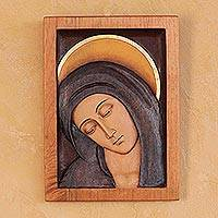 Cedar relief panel, 'Inclined Virgin'