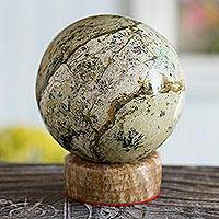 Serpentine sphere, 'Natural World' - Gemstone Serpentine Sculpture