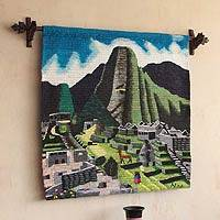 Wool tapestry, 'Machu Picchu' - Cultural Hand Loomed Andean Wool Tapestry Wall Hanging