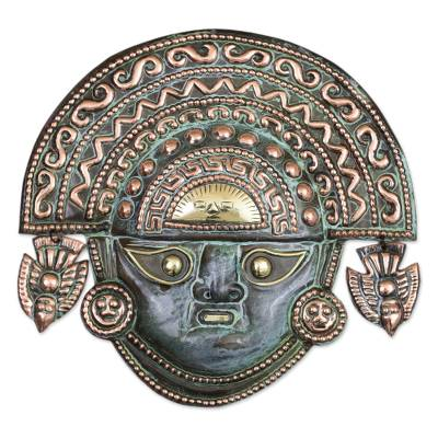 Copper mask, 'Ai Apaec with Ritual Crown' - Copper mask