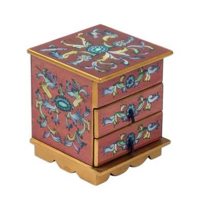 Glass Jewelry Chest Handpainted Russet Gold