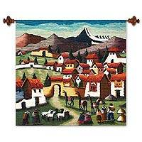 Wool tapestry 'Llama Village' - Fair Trade Cultural Wool Tapestry Wall Hanging
