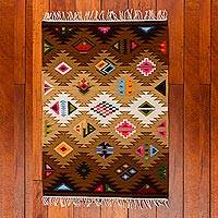 Wool rug, 'Tribute' (2x2.5) - Geometric Hand Loomed Wool Area Rug (2x2.5)