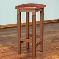 Cedar and leather bar stool, 'Empress' (natural) - Artisan Crafted Wood and Leather Bar Stool