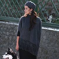Alpaca blend poncho and hat, 'Princess Grey' - Alpaca Blend Poncho and Hat Set