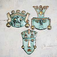 Bronze masks, 'Ancient Trio' (set of 3)