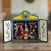 Painted wood retablo, 'Bethlehem in Lucanas' - Unique Peruvian Folk Art Wood Retablo Sculpture