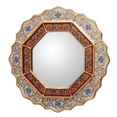 Reverse painted glass mirror, 'White Star' - Reverse Painted Glass Wood Mirror from Peru