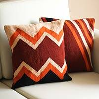 Wool cushion covers, 'Mountains' (pair) - Handwoven Peruvian Wool Pillowcases (Pair)